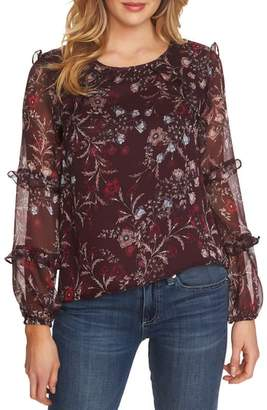 CeCe Floral Mystery Tiered Ruffle Blouse