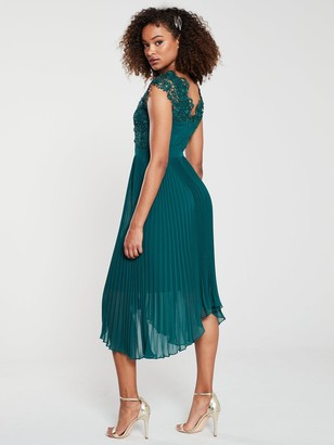 Very Lace Pleated Occasion Dress - Green