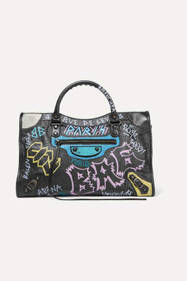 Balenciaga Classic City Printed Textured-leather Tote - Black