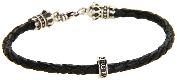 King Baby Studio Thin Leather Braided Crown Bracelet