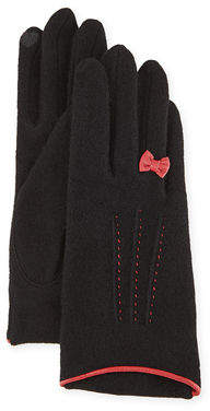 Portolano Cashmere-Blend Gloves w/ Leather Bow
