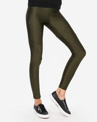 Express High Waisted Seamed Shine Leggings