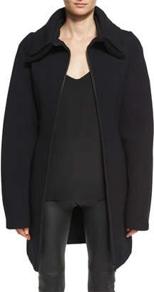 Neiman Marcus Brandon Maxwell Layered-Collar Wool Crepe Zip-Front Coat, Black