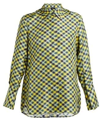 e4b334518632ae Joseph Mason Diamond Print Silk Satin Shirt - Womens - Yellow Multi