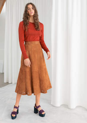 And other stories Pleated Suede Midi Skirt