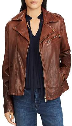 Lauren Ralph Lauren Tumbled Leather Moto Jacket