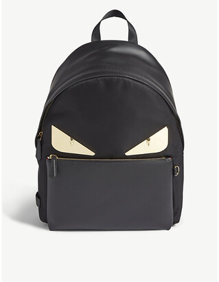 Fendi Bag Bugs leather-trimmed nylon backpack