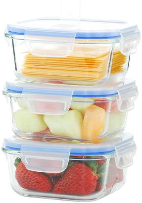 Kinetic GoGreen Glassworks Elements Square Small Food Storage Set (6 PC)