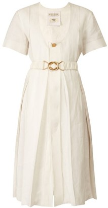 Bottega Veneta Belted Pleated Midi Dress - Womens - White