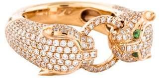 Anita Ko 18K Diamond & Tsavorite Panther Ring rose 18K Diamond & Tsavorite Panther Ring