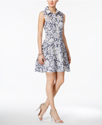 Betsey Johnson Printed Cotton Burnout Shirtdress $128 thestylecure.com