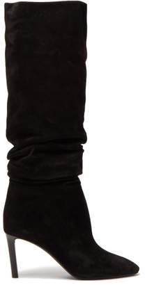 Saint Laurent Mica Slouched Suede Boots - Womens - Black