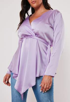 Missguided Plus Size Lilac Satin Tie Front Top