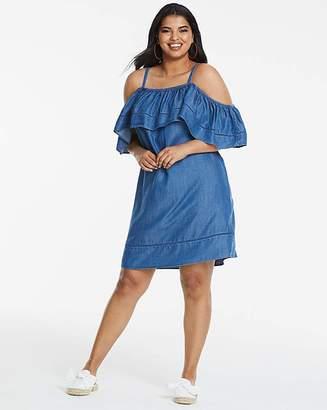 Fashion World Soft Tencel Ruffle Cold Shoulder Dress