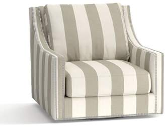 Pottery Barn Pasadena Upholstered Swivel Armchair - Print and Pattern