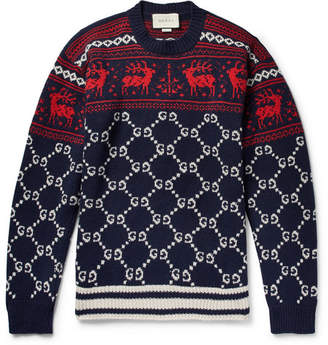 Gucci Fair Isle Jacquard-Knit Wool Sweater