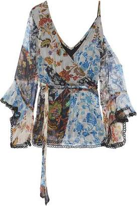 Love Sam Wrap-effect Cutout Floral-print Georgette Blouse