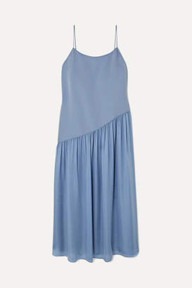 Theory Pleated Crepe And Georgette Midi Dress - Blue