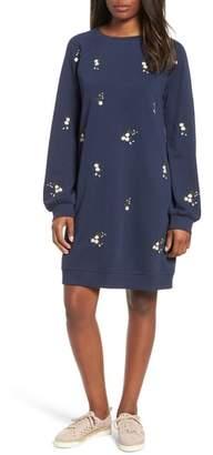 Caslon Embroidered Sweatshirt Dress