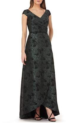 Carmen Marc Valvo Pleated Brocade Evening Dress