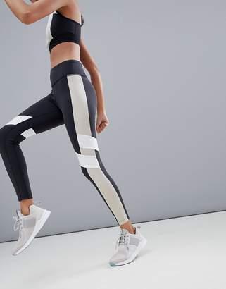 Reebok Training Colourblock Leggings In Black And Beige
