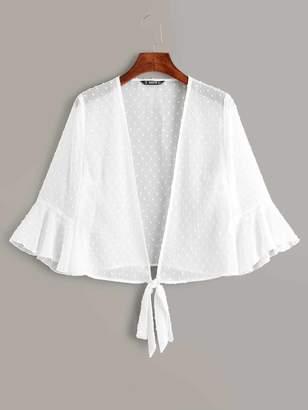Shein Open Tie Front Jacquard Chiffon Kimono