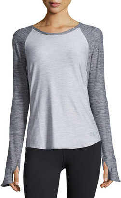 The North Face Motivation Long-Sleeve Training T-Shirt, TNF Light Gray Heather $55 thestylecure.com