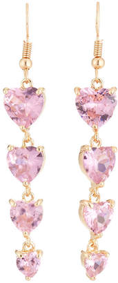 Emily and Ashley Greenbeads By Crystal Heart Drop Earrings, Pink