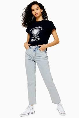 Topshop Womens Super Bleach Wash Straight Jeans - Bleach Stone