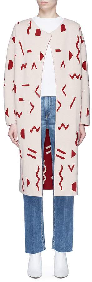 The R Collective Abstract graphic intarsia reversible knit open coat