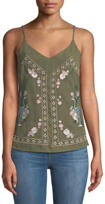 Dex Mirror-Embroidered V-Neck Camisole
