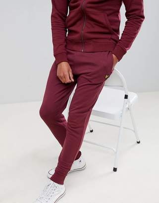 Lyle & Scott skinny logo joggers in burgundy