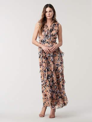 Diane von Furstenberg Lacey Silk Maxi Wrap Dress