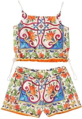 Dolce & Gabbana Maiolica Cotton Muslin Top & Shorts