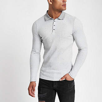 River Island Mens Grey muscle fit chunky rib polo shirt