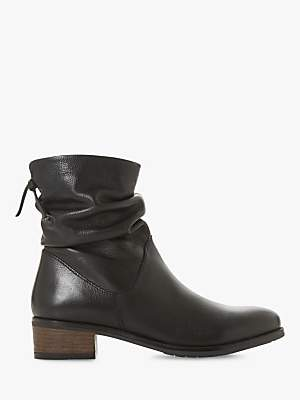 6affad5cfc2c Dune Pagerss Ruched Block Heel Ankle Boots, Black Leather