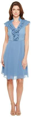 Adrianna Papell Chiffon Fit and Flare Dress with Pleated Ruffle Collar V-Neckline Women's Dress