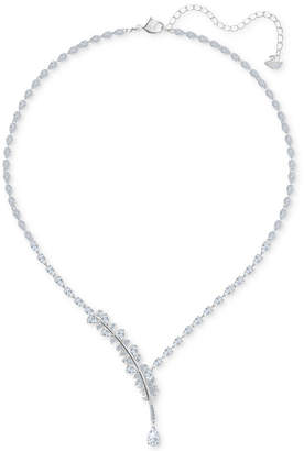 "Swarovski Silver-Tone Crystal Feather Statement Necklace, 14"" + 2"" extender"