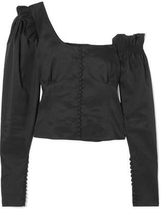 Magda Butrym Vannes Off-the-shoulder Ruffle-trimmed Linen And Silk-blend Top - Black