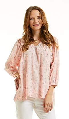 SONJA BETRO Women's Floral Printed Cotton Lace Inset V-Neck Tunic Top Blouse XX-Large