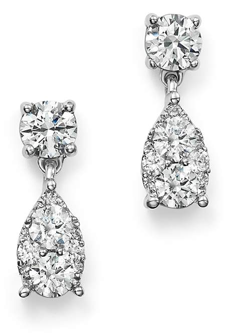 Diamond Cluster Drop Earrings in 14K White Gold, 1.0 ct. t.w. - 100% Exclusive