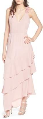 LOST INK Ruffled Asymmetrical Maxi Dress