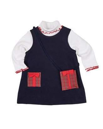 Florence Eiseman Pocket Full of Presents Corduroy Dress w/ Turtleneck Top & Crossbody Bag, Size 2-6X