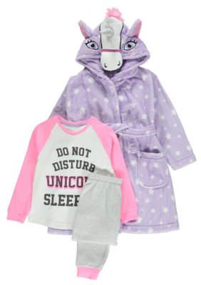 George 3 Piece Unicorn Print Pyjamas and Dressing Gown Set