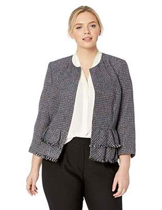 Nine West Women's Plus Size Jewel Neck Tweed Jacket Bottom Ruffle Detail