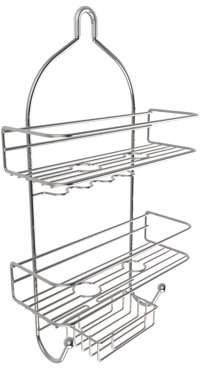 Lavish Home 3-Tier Shower Caddy with Shelves and Hooks- Non Slip Grip Showerhead Bath Organizer with Rustproof Corrosion Resistant Satin Finish by Somerset Home