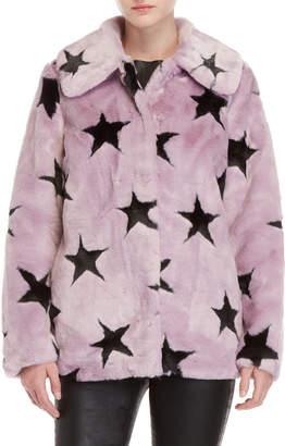 AVEC LES FILLES Star Print Faux Fur Coat