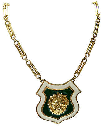 One Kings Lane Vintage Accessocraft NYC Lion Shield Necklace