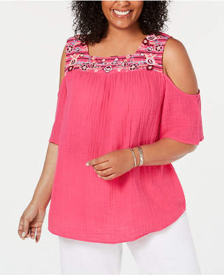 Style Co Plus Size Cotton Cold Shoulder T Shirt By Style Co In Pink Breeze