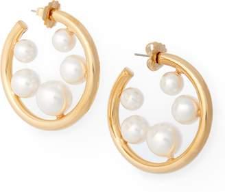 Ralph Lauren Crystal Pearl Hoop Earrings